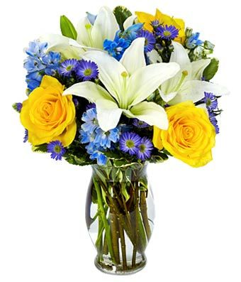 Blue White & Yellow Vase Arrangement