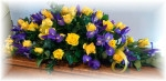 Yellow and Blue Casket Spray
